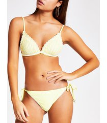river island womens yellow embroidered tie side bikini bottoms