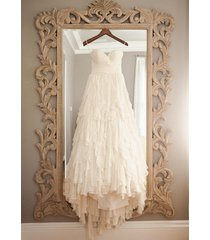 sleeveless tiered ivory chiffon countryside wedding dresses with removable sash