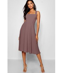 square neck midi skater dress, mauve