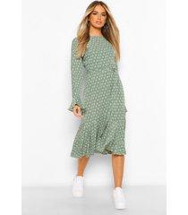 bloemenprint maxi jurk met lange mouwen en ceintuur, groen