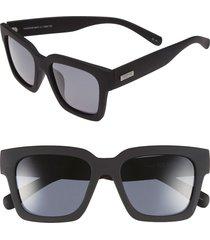 women's le specs 'weekend riot' 55mm sunglasses - black rubber/ smoke mono polar
