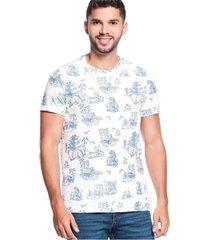 camiseta slim maxi print ivory jaspe