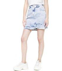 falda cargo lisa azul denim five