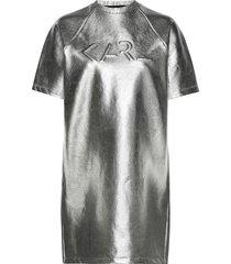 s/s coated logo sweat dress kort klänning silver karl lagerfeld