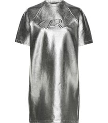 s/s coated logo sweat dress kort klänning silver karl lagerfeld