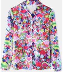 camicetta casual allentata manica lunga con bottoni patchwork stampa donna