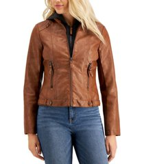 maralyn & me juniors' faux-leather hoodie jacket