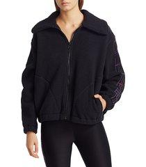 terez women's plaid-detailed fleece jacket - black - size l