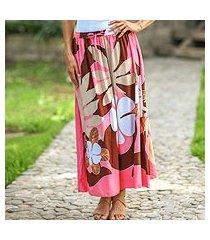 skirt, 'graceful pink plumeria' (indonesia)