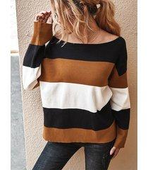 maglione a maniche lunghe o-collo lavorato a maglia a blocchi di colore a righe