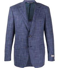 canali checked woven blazer - blue
