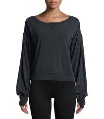 blanc noir women's amour cropped sweatshirt - dark lavender - size xs