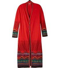 jacquard mantel met kleurig structuurpatroon, oranje-motief 40