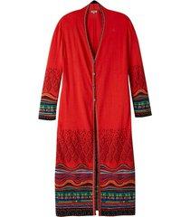 jacquard mantel met kleurig structuurpatroon, oranje-motief 44