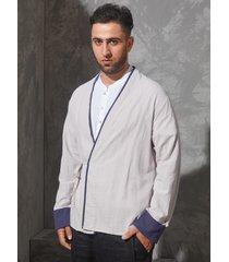 incerun hombre vendimia cárdigan de abrigo de algodón de lino con kimono japonés