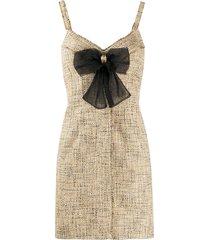 sandro paris tweed-style bow detail dress - neutrals