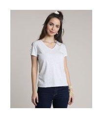 camiseta flamê de algodão básica manga curta decote v cinza mescla claro