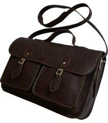 bolsa line store leather satchel pockets média couro marrom escuro.