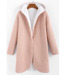 faux shearling hooded drop shoulder teddy coat