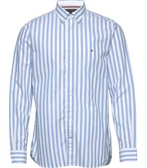 cotton linen multi stripe shirt overhemd casual blauw tommy hilfiger