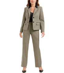 le suit plaid print pantsuit