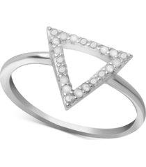 diamond triangle ring (1/10 ct. t.w.) in sterling silver