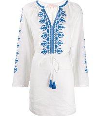 tory burch tassel-detail embroidered mini dress - white