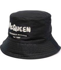 alexander mcqueen man black and ivory mcqueen graffiti bucket hat