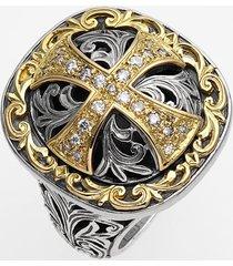 konstantino 'diamond classics' diamond cross two-tone ring, size 8 in silver/gold at nordstrom