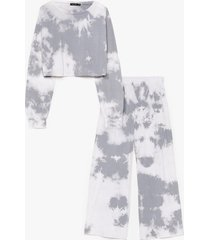 womens good vibes only tie dye wide-leg pants set - grey