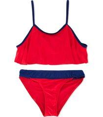 duskii girl poppy frill crop bikini set - red