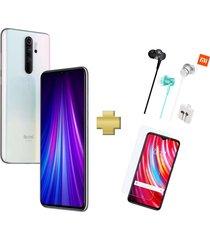 celular xiaomi redmi note 8 pro 128gb 6gb ram blanco + vidrio + audifonos xiaomi