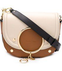 see by chloé mara logo charm crossbody bag - brown