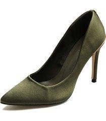 zapato tacón alto color verde paris hilton p25-d