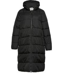 jriris ls jacket - s gevoerde lange jas zwart junarose