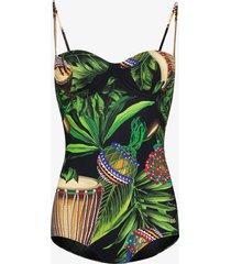 dolce & gabbana jungle print balconette swimsuit - green