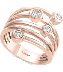effyy diamond coil bezel statement ring (1/3 ct. t.w.) in 14k rose gold