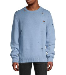 helmut lang men's distressed wool-blend sweater - aquarius - size xxl