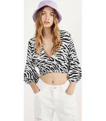blouse met dierenprint en elastisch garen