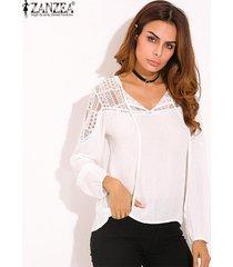 zanzea otoño 2018 camisas de las mujeres flojas ocasionales del remiendo del cordón del ganchillo blusas con cuello en v manga larga t-tops s-5xl (blanco) -blanco