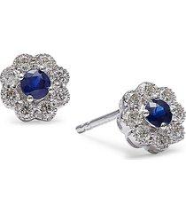 diana m jewels women's 14k white gold, sapphire & diamond stud earrings