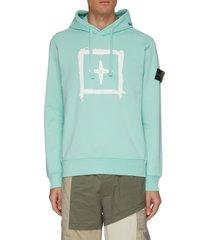 compass graphic print cotton fleece drawstring hoodie