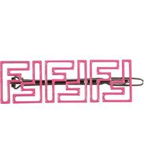 fendi fuchsia hair-clip for girl with double ff logo