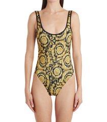 women's versace barocco print one-piece swimsuit, size 5 - yellow