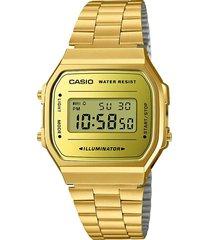 reloj casio a-168wegm-9d unisex retro dorado