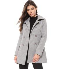 casaco sobretudo facinelli by mooncity botãµes cinza - cinza - feminino - viscose - dafiti