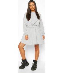 elasticated waist smock sweatshirt dress, grey marl