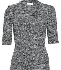 melange knit gebreide trui grijs ganni