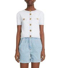 women's balmain monogram jacquard short sleeve cardigan, size 4 us - white