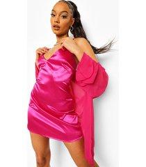 satijnen onderjurk en chiffon blouse, hot pink
